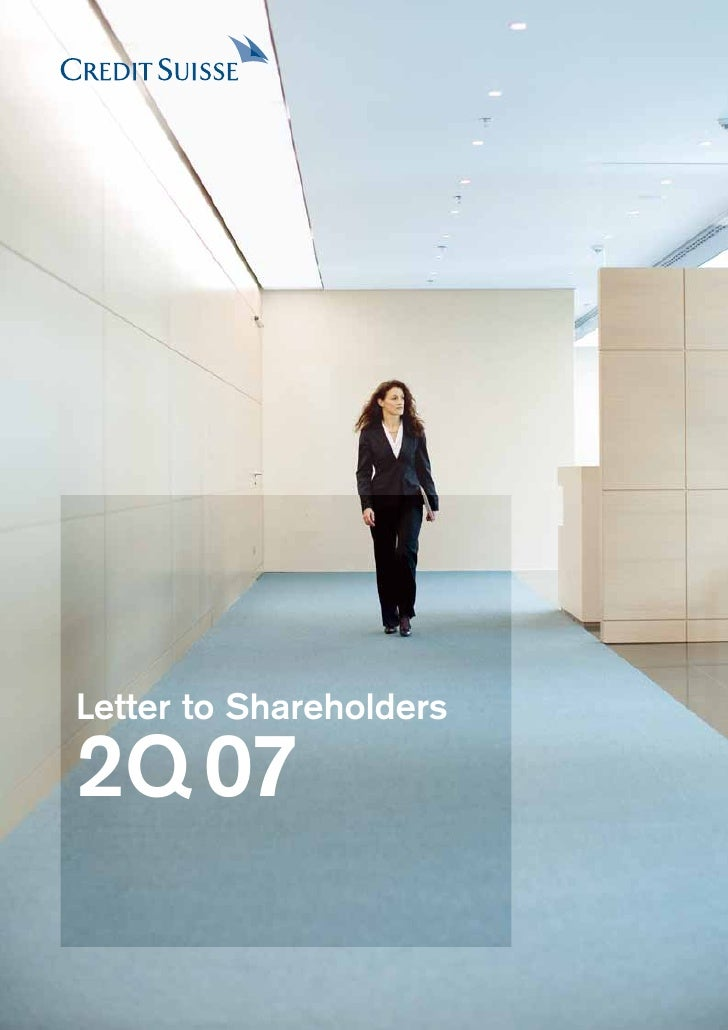 credit suiss Letter to shareholders