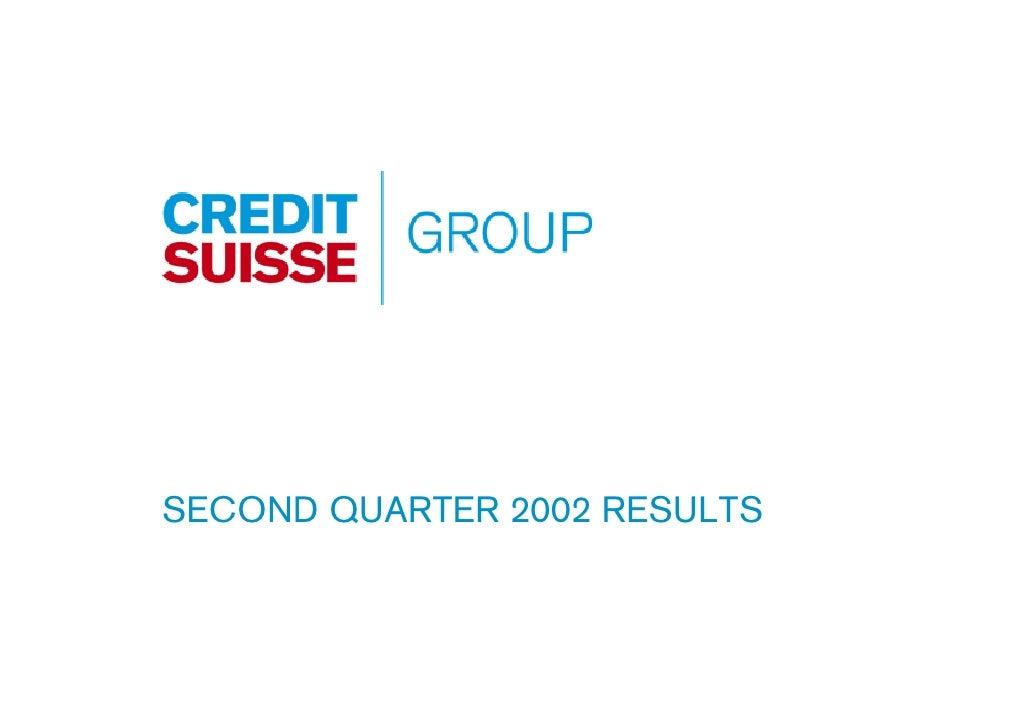 SECOND QUARTER 2002 RESULTS