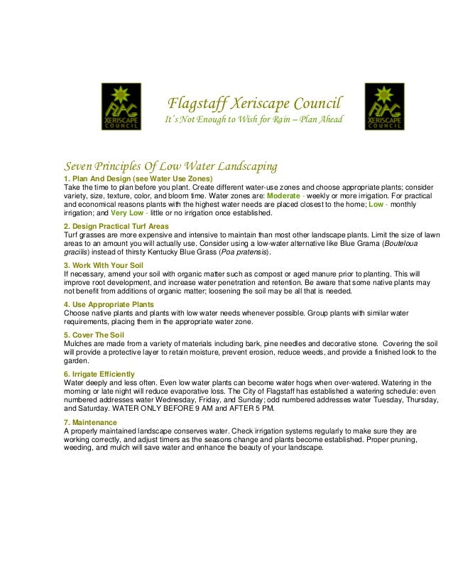 Seven Principles of Low Water Landscaping - Flagstaff Xeriscape Council