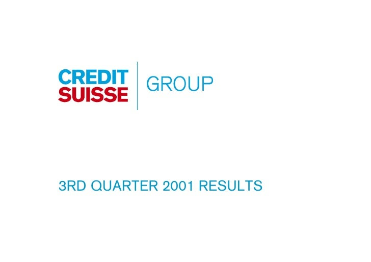 3RD QUARTER 2001 RESULTS