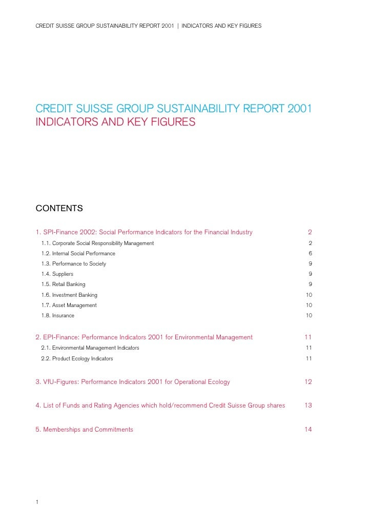 CREDIT SUISSE GROUP SUSTAINABILITY REPORT 2001 | INDICATORS AND KEY FIGURES     CREDIT SUISSE GROUP SUSTAINABILITY REPORT ...