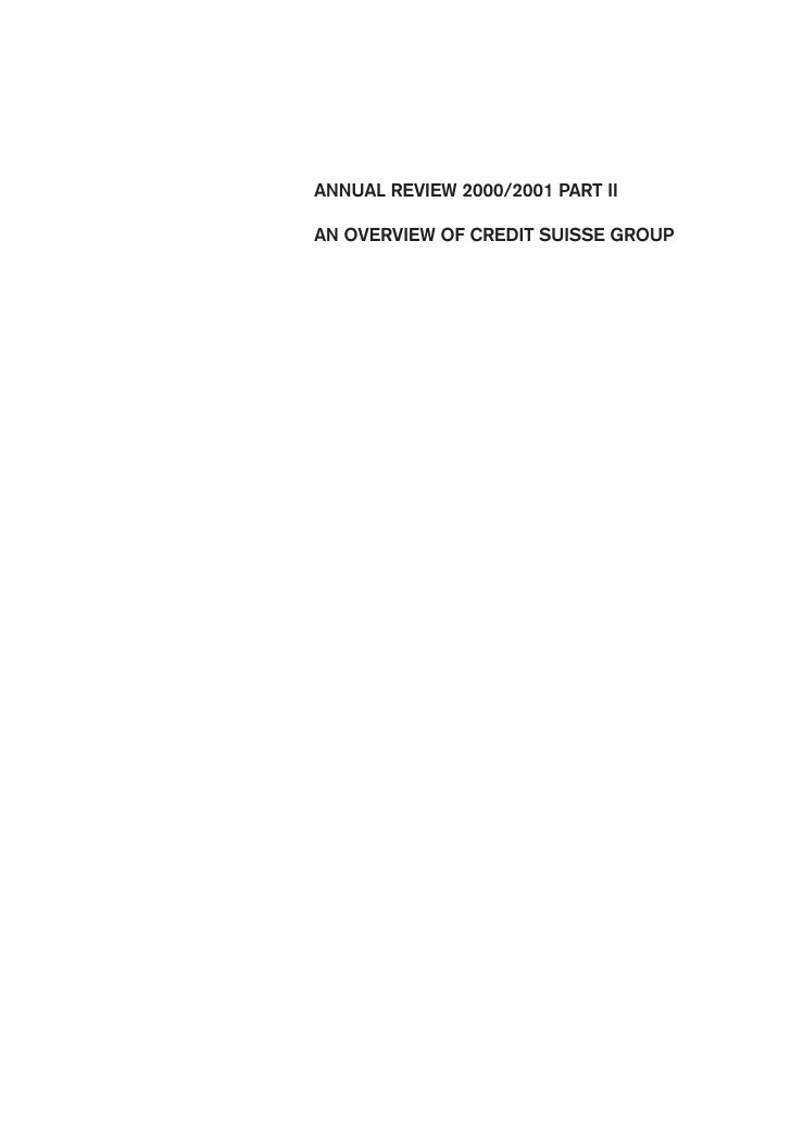 ANNUAL REVIEW 2000/2001 PART II  AN OVERVIEW OF CREDIT SUISSE GROUP