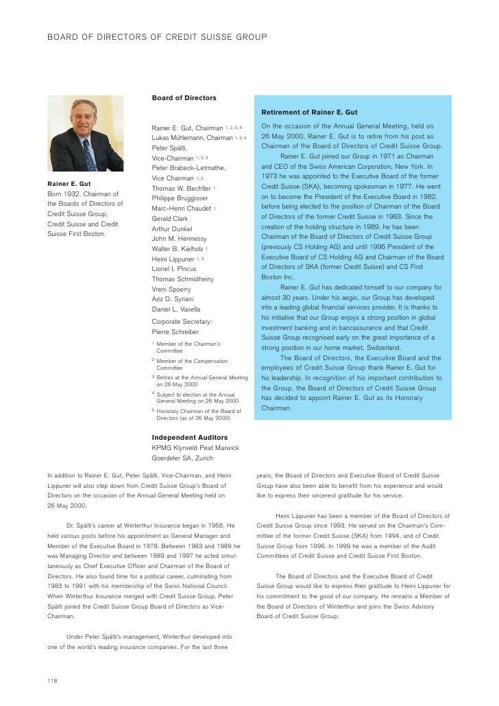 BOARD OF DIRECTORS OF CREDIT SUISSE GROUP                                           Board of Directors                    ...