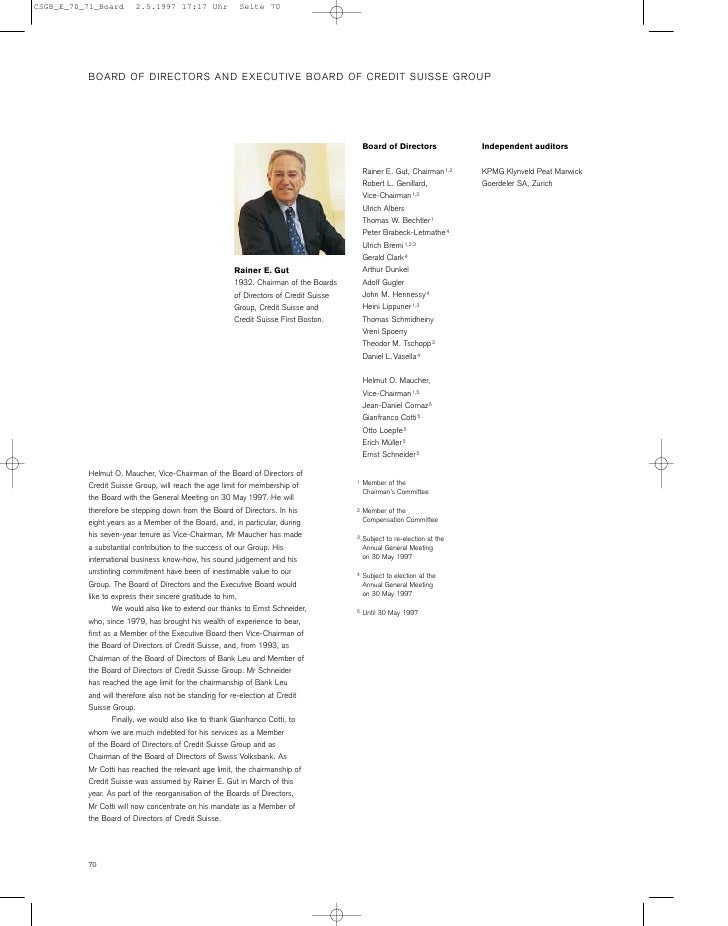 BOARD OF DIRECTORS AND EXECUTIVE BOARD OF CREDIT SUISSE GROUP                                                             ...