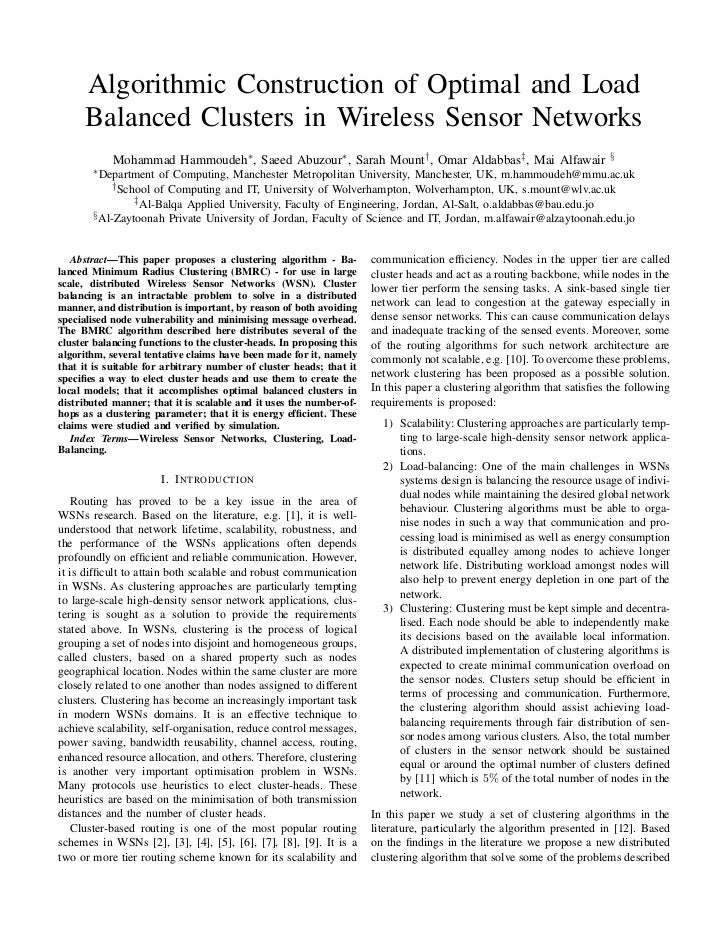Algorithmic Construction of Optimal and Load      Balanced Clusters in Wireless Sensor Networks            Mohammad Hammou...