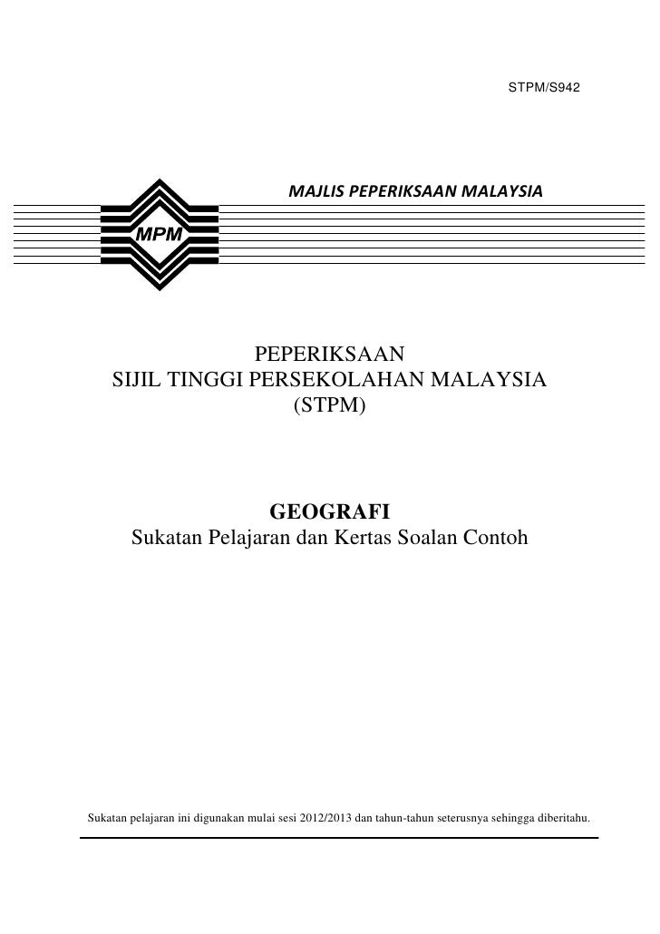 STPM/S942                                       MAJLIS PEPERIKSAAN MALAYSIA                 PEPERIKSAAN    SIJIL TINGGI PE...