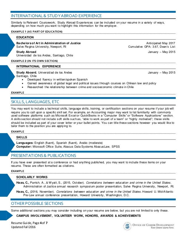 Resume language skills example