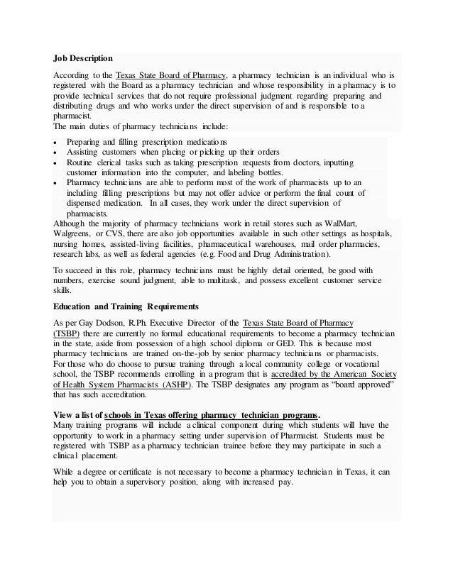 cvs pharmacy job description