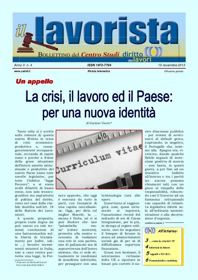IL LAVORISTA - ANNO V N. 4 - 15/11/2013 RIVISTA TELEMATICA DEL CENTRO STUDI DIRITTO DEI LAVORI