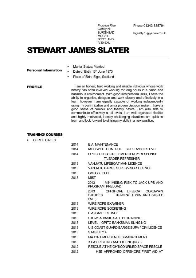 stewart slater cv