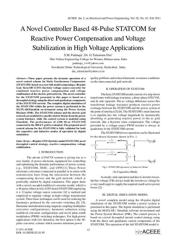 ACEEE Int. J. on Electrical and Power Engineering, Vol. 02, No. 01, Feb 2011   A Novel Controller Based 48-Pulse STATCOM f...