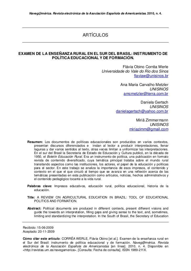 Examen de la enseñanza rural en el sur de Brasil: instrumento de politica educacional y de formación