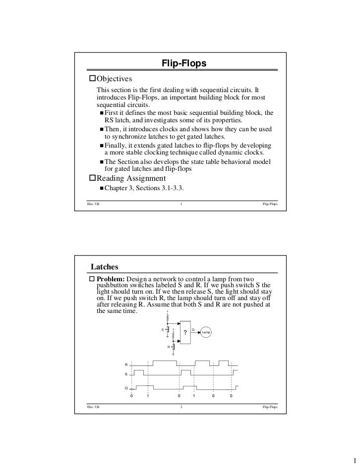 Flip-Flops      Objectives      This section is the first dealing with sequential circuits. It      introduces Flip-Flops,...