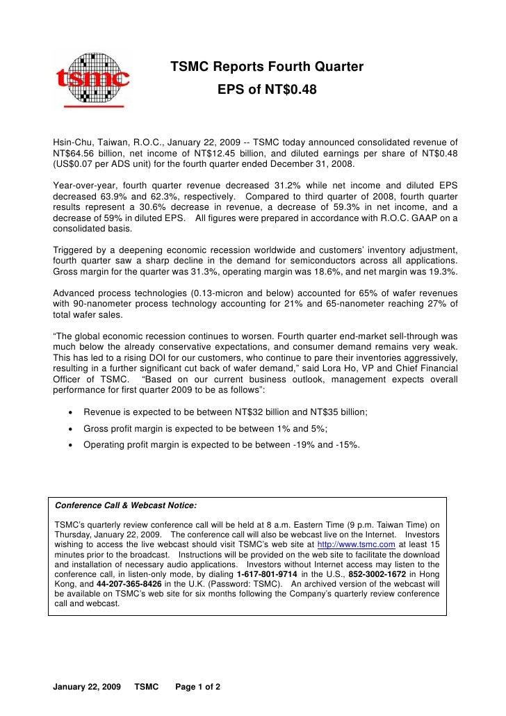 TSMC Reports Fourth Quarter                                            EPS of NT$0.48   Hsin-Chu, Taiwan, R.O.C., January ...