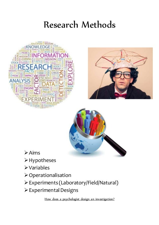 Research Methods Aims Hypotheses Variables Operationalisation Experiments(Laboratory/Field/Natural) ExperimentalDesi...