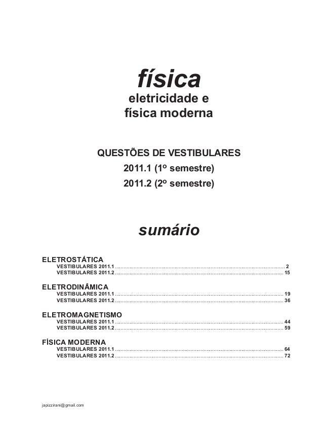 95916269 fisica-eletricidade-e-fis-moderna-questoes-de-vestibular-2011