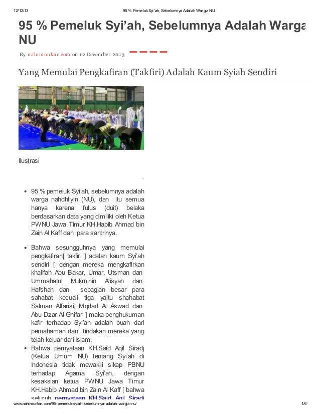 95 % pemeluk syi'ah di indonesia, sebelumnya adalah warga nu