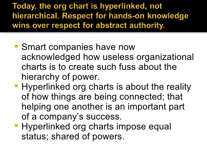 <ul><li>Smart companies have now acknowledged how useless organizational charts is to create such fuss about the hierarchy...