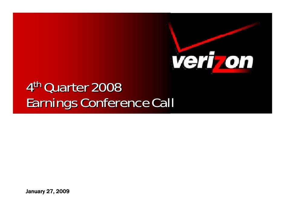 4th Quarter 2008 Earnings Conference Call     January 27, 2009