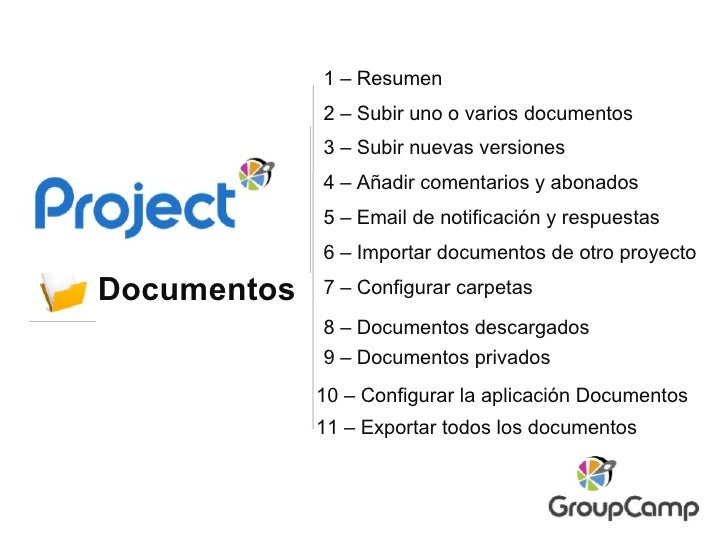 Documentos 2 – Subir uno o varios documentos 7 – Configurar carpetas 6 – Importar documentos de otro proyecto 10 – Configu...