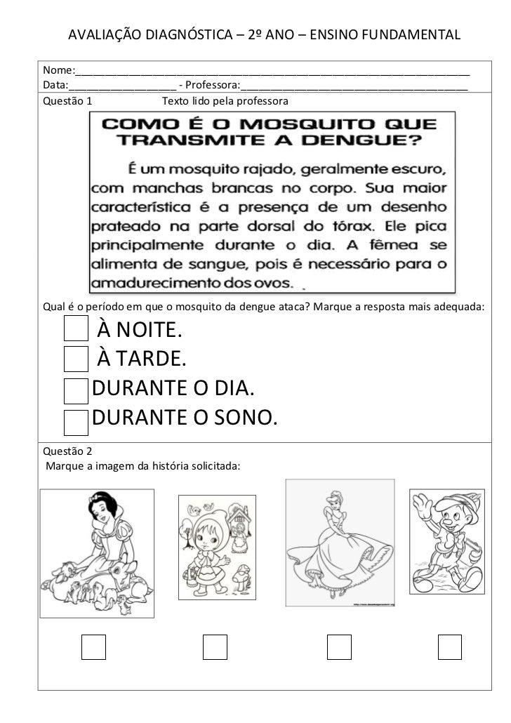 AVALIAÇÃO DIAGNÓSTICA DE PORTUGUÊS SEGUNDO ANO