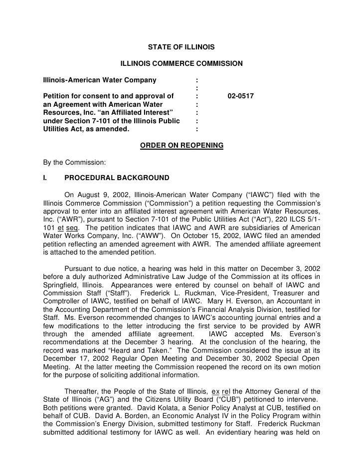STATE OF ILLINOIS                         ILLINOIS COMMERCE COMMISSIONIllinois-American Water Company                  :  ...