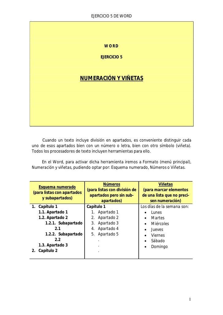 EJERCICIO 5 DE WORD                                     WORD                                   EJERCICIO 5                ...