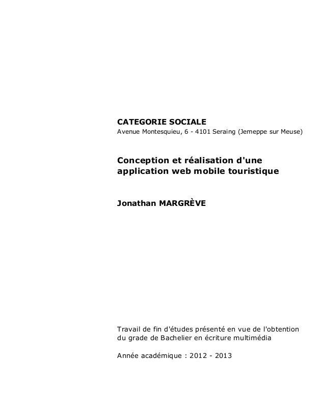 CATEGORIE SOCIALE Avenue Montesquieu, 6 - 4101 Seraing (Jemeppe sur Meuse) Conception et réalisation d'une application web...