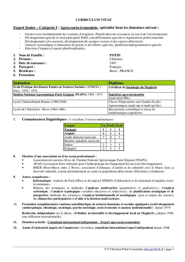 CV Christian Potin Consultant chris.pot@sfr.fr / page 1 CURRICULUM VITAE Expert Senior – Catégorie I : Agros-socio-économi...