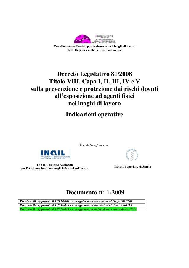 Coordinamento Tecnico per la sicurezza nei luoghi di lavoro delle Regioni e delle Province autonome Decreto Legislativo 81...
