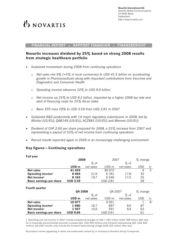 Novartis Q4 2008 earnings report