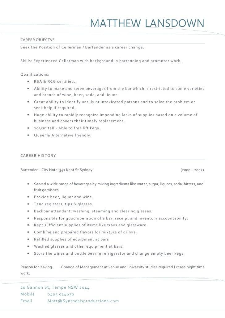 Matthew Lansdown - Bar Tender Resume