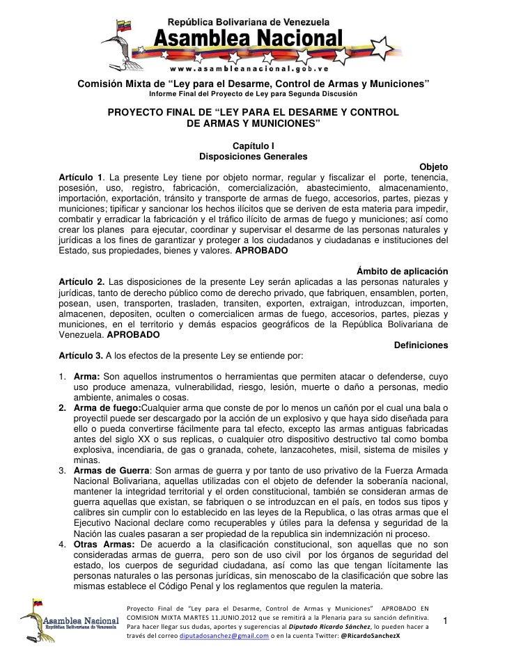 """Asamblea Nacional    Comisión Mixta de """"Ley para el Desarme, Control de Armas y Municiones""""                        Informe..."""