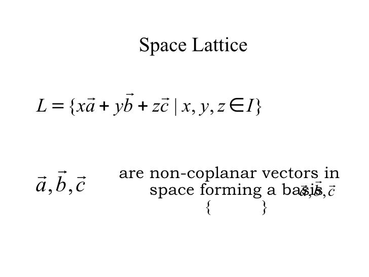 Space Lattice are non-coplanar vectors in space forming a basis {  }