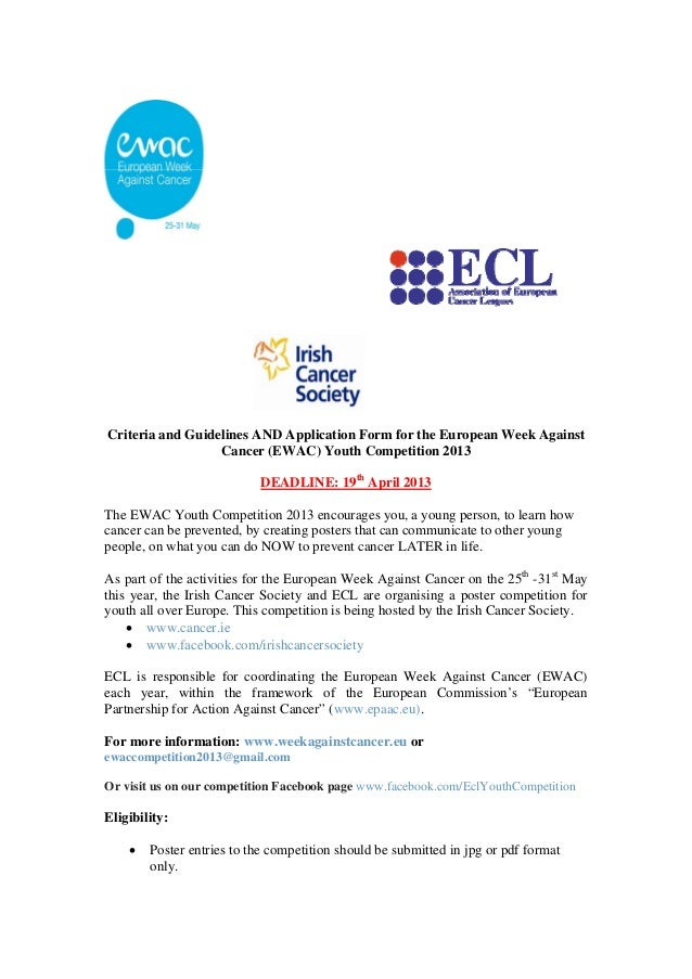 Criteria and Guidelines AND Application Form for the European Week Against                  Cancer (EWAC) Youth Competitio...