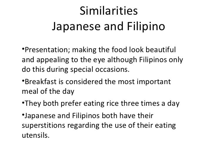 a comparison of macondo and filipino culture A cross-cultural comparison of fast food restaurant selection criteria between korean and filipino college students.