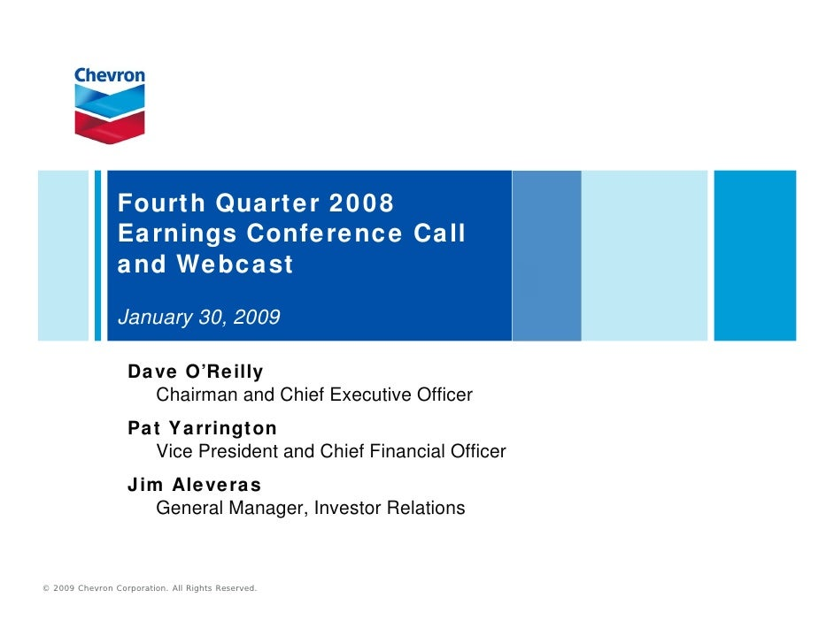 Chevron Q4 2008 earnings release