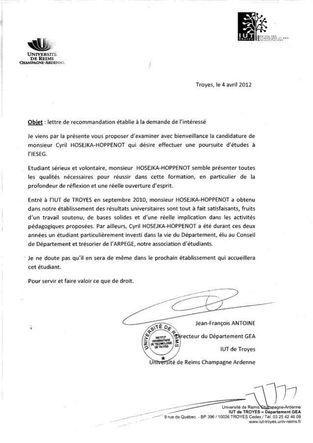 Lettre de recommandation & bulletins de notes DUT GEA (2010-2012)