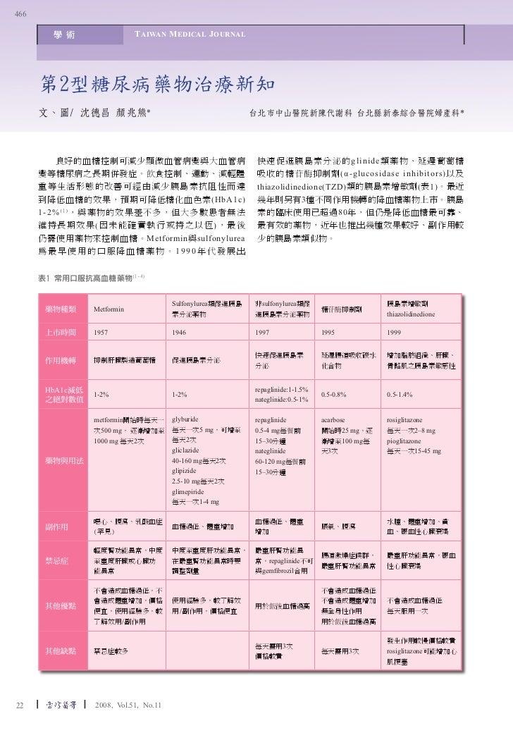 466        學 術                  T AIWAN M EDICAL J OURNAL      第2型糖尿病藥物治療新知      文、圖/ 沈德昌 顏兆熊*                            ...