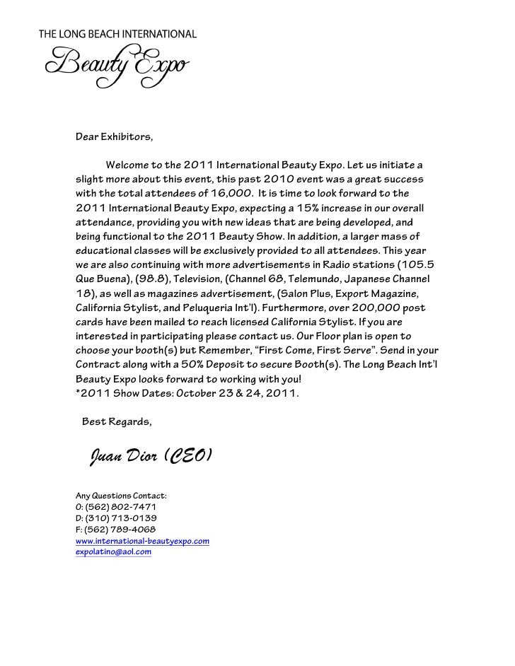 dear exhibitors welcome to the 2011 international beauty expo let us