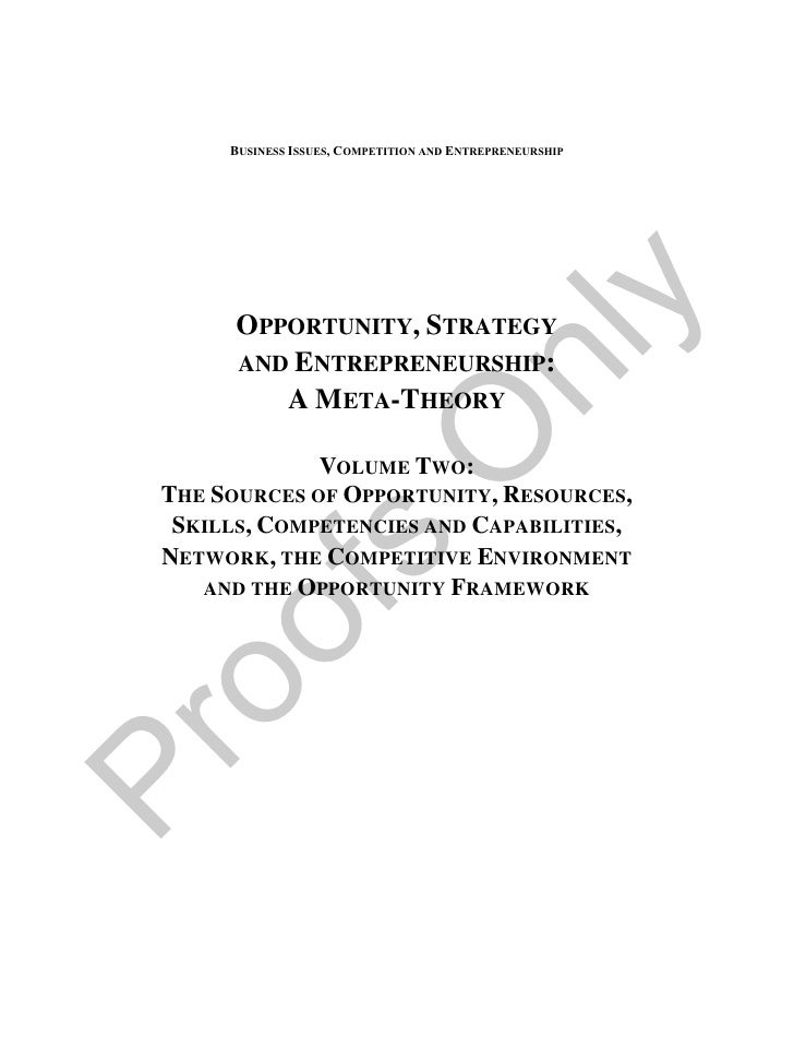 Opportunity, Strategy & Entrepreneurship: A Meta-Theory, Volume 2
