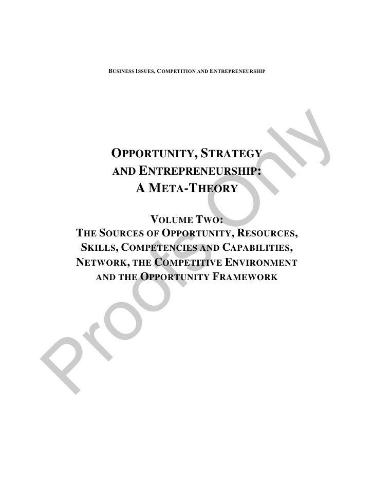 Opportunity, Strategy & Entrepreneurship: A Meta-Theory, Volume 2