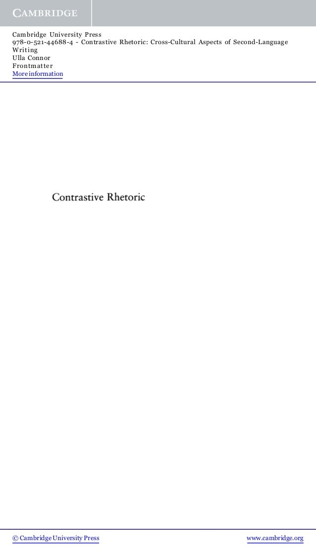 Contrastive Rhetoric cross-cultural aspects of second-language writing