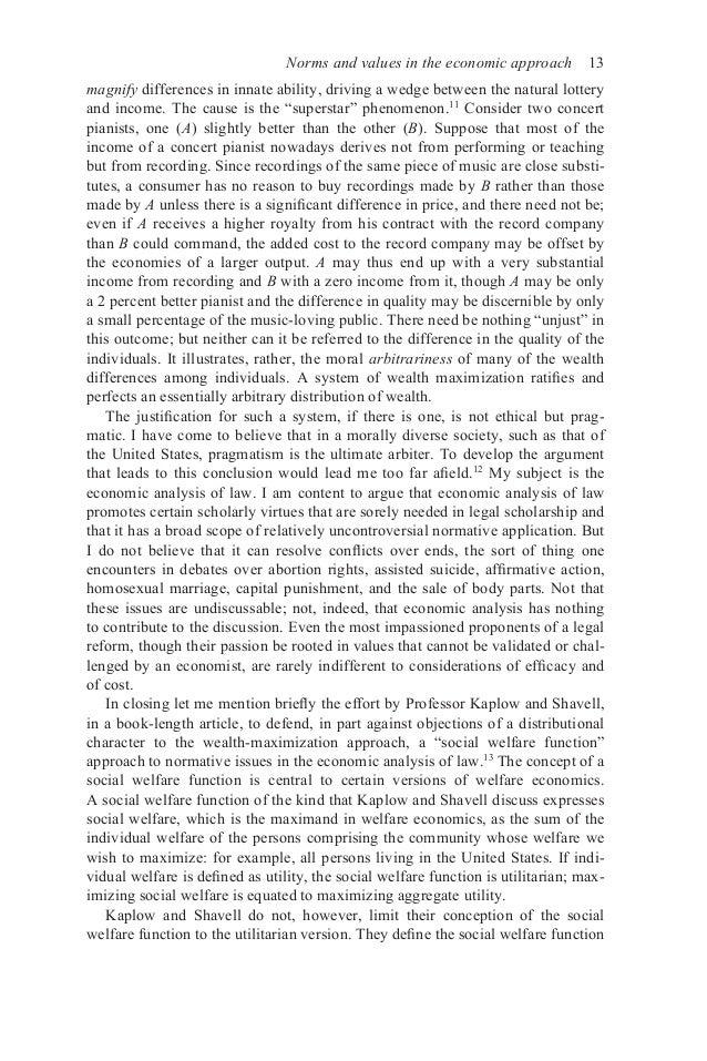 Law and Economics, Essay Question?