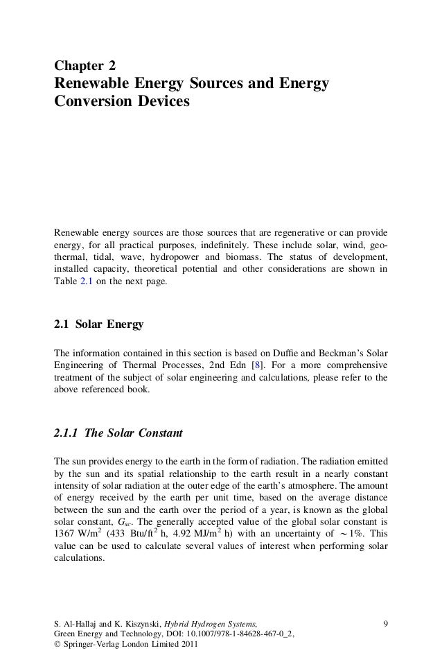 Chapter 2  Renewable Energy Sources and Energy Conversion Devices  Renewable energy sources are those sources that are reg...