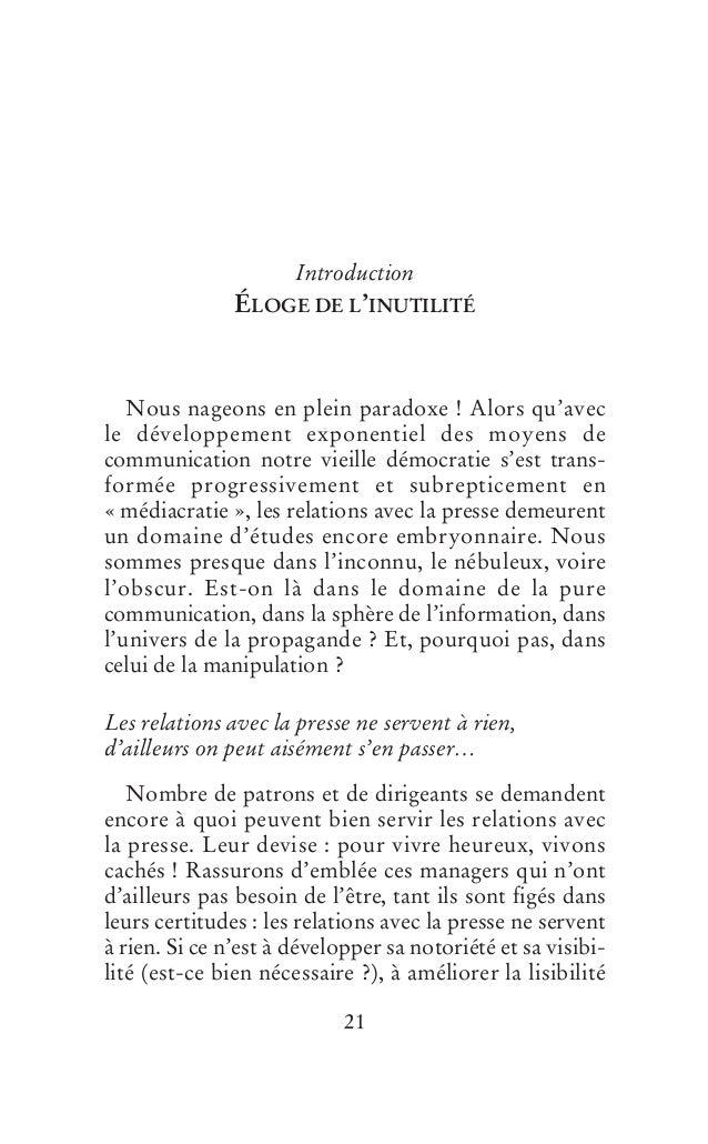 Introduction                                      ÉLOGE DE L'INUTILITÉ                       Nous nageons en plein paradox...