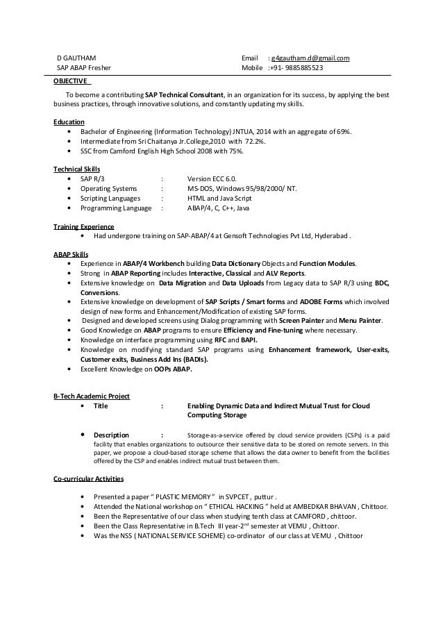 sap mm fresher resume samples – Sap Resume Sample