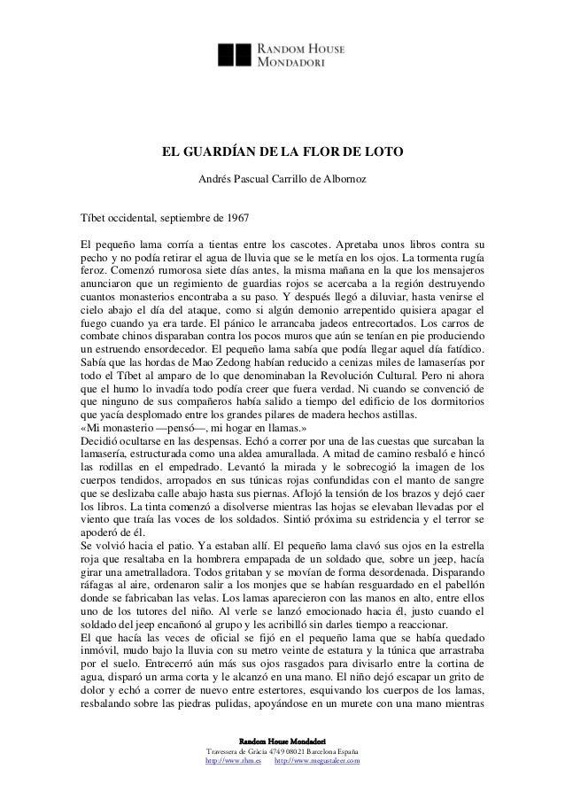 EL GUARDÍAN DE LA FLOR DE LOTO                          Andrés Pascual Carrillo de AlbornozTíbet occidental, septiembre de...