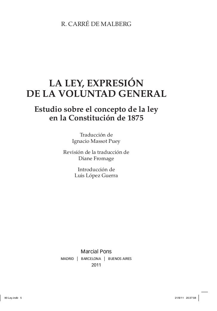 La Ley, Expresión De La Voluntad General, R. Carré De Malberg, ISBN 9788497686624