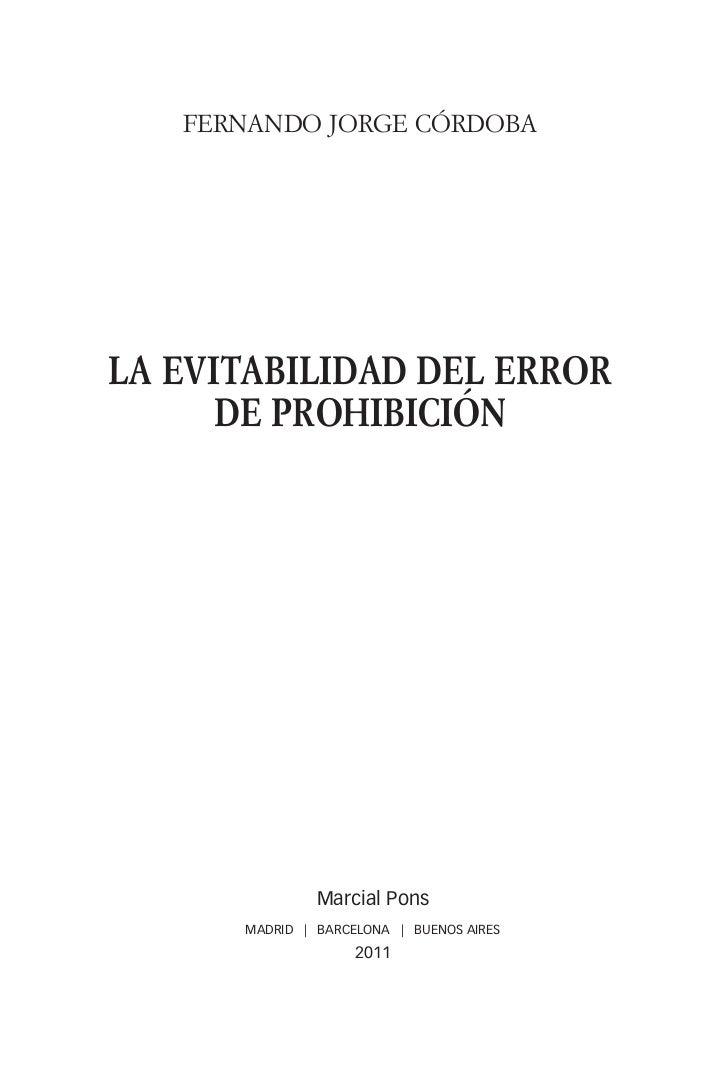 La evitabilidad del error de prohibición, Fernando Jorge Córdoba, ISBN 9788497688932